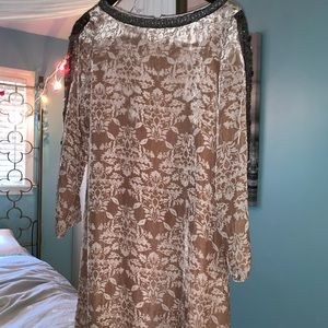 Sundance Velvet Long Sleeve Brown Dress